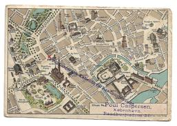 Old Postcard,advertising, Map Of Kobenhaun. Copenhagen, Denmark, Poul Caspersen - Danemark