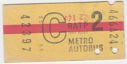 Ticket De Métro. R.A.T.P. - Europe