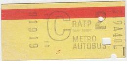 Ticket De Métro. R.A.T.P. - Subway