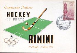 20773 Italia,special Postmark, 1958, Rimini, Italian Field Hockey Champ. Rimini 1958 - Hockey (su Erba)