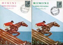 20775 Italia, 2 Special Postmark, 1956 And 1957  Rimini, National Horse Champ, - Ippica