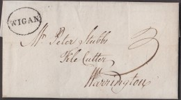 """1800 Letter From """"Tho's Wigan,"""" To """"Peter Stubbs, Warrington"""" With V. Rare, Superb 'WIGAN' Pmk.  Ref 0297 - Postmark Collection"""