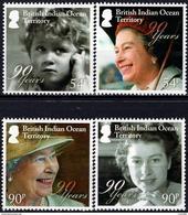 BIOT - British Indian Ocean - 2016 - Queen Elizabeth II 90th Birthday - Mint Stamp Set - Britisches Territorium Im Indischen Ozean