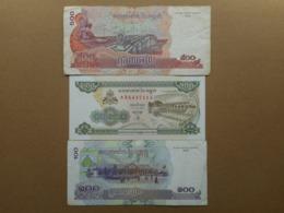 Cambodia 100,200,500 Riels 1995-2004 (Lot Of 3 Banknotes) - Cambodia
