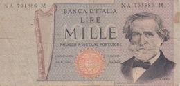 BANCONOTA - BANCA D'ITALIA - LIRE MILLE - GIUSEPPE VERDI - 1969 - [ 2] 1946-… : Repubblica