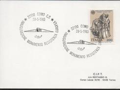 3128  Tarjeta Como 1983 Italia Monumento Resistenza Europea - 1981-90: Storia Postale