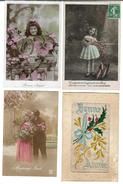 Fantaisies Divers - Lot De 100 Cartes - 1er Avril - Noël - Enfants - Femmes - Fleurs - Couples - Pâques - Etc - Cartes Postales