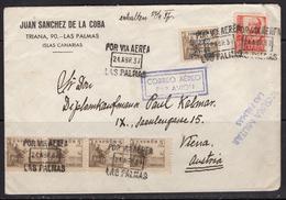 España 1937. Canarias. Carta De Las Palmas A Viena. Censura. - Marcas De Censura Nacional