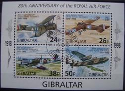 GIBRALTAR - H.BLOQUE IVERT Nº 31 USADO - AVIONES (R121) - Gibraltar