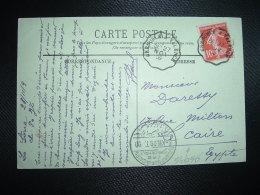 CP Pour EGYPTE TP SEMEUSE 10c OBL. CONVOYEUR 27 NOV 09 GRENOBLE A VALENCE + Arrivée 5 XII 09 ALEXANDRIA CAIRO - 1906-38 Sower - Cameo