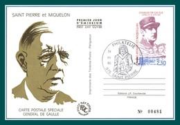 Entier Postal Stationery Saint Pierre & Miquelon N° 30 CPR De Gaulle Obl Philatélie Saint Pierre 1990 (pas Courant !) - Entiers Postaux
