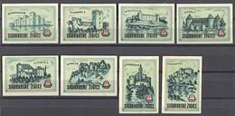 MATCHBOX LABELS / SAFETY MATCHES - Castle, Schloss, DRAVA Factory OSIJEK, 12 Pcs - Boites D'allumettes - Etiquettes