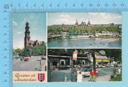 Amsterdam Pay-Bas - Groeten Uit Amsterdam Blazon, Multi-vues -  2 Scans - Souvenir De...