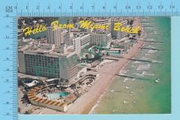 Hello From Miami Beach Florida USA -  2 Scans - Souvenir De...