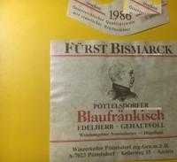 3896 - Fürst Bismarck Pöttelsdorfer 1986 Blau Frankisch Autriche - Etiquettes