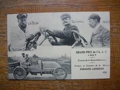 Réédition ... Grand Prix De L'a.c.f. 1907 , Voiture Et Coureur De La Maison Panhard-levassor - Ansichtskarten