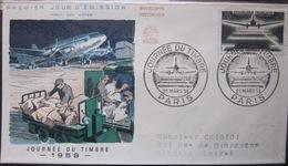 Enveloppe FDC - 1959 - Journée Du Timbre - YT 1196 - Avion - France