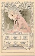 Gaston NOURY - Jeune Femme à La Charlotte Et Au Coffret, Style Art Nouveau - Illustrateurs & Photographes