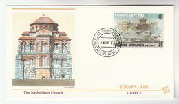 1983 GREECE  CATHOLIC CHURCH Design COVER FDC EUROPA  Stamps Religion - 1983
