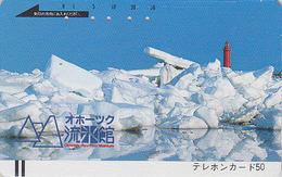 Télécarte Ancienne Japon / 110-10487 - Région Polaire OKHOTSK & PHARE - LIGHTHOUSE Japan Front Bar Phonecard / B - Lighthouses