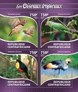CENTRAFRICAINE 2015 SHEET TROPICAL BIRDS OISEAUX TROPICAUX PERROQUETS LOROS PARROTS PAJAROS VOGELS WILDLIFE Ca15212a - Centraal-Afrikaanse Republiek