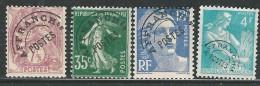 FRANCE 1922-47 PRECANCELLED 42*, 63*, 103*,106* CV 9.70 EUR - Préoblitérés