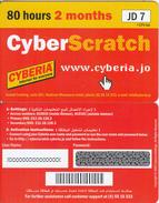 JORDAN - Cyberia Internet Prepaid Card JD 7(glossy Surface, 80 Hours-2 Months), Sample