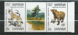 Ukraine 1997 Protected Animals.Environment.Lynx Lynx.Bears.Pair + Vignette.MNH - Ukraine