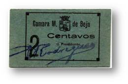 BEJA - Cédula 2 Centavos - Camara Municipal - ND - Catalog. M.A. 382 - PORTUGAL Emergency Paper Money Notgeld - Portugal