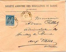 838 Enveloppe Avec Convoyeur Ligne La Voulte à Robiac 1887  Ardeche - Marcophilie (Lettres)