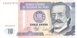 PEROU   10 Intis   26/6/1987   IPS-Roma   P. 129   UNC - Pérou