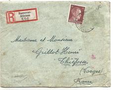ALLEMAGNE REICH LETTRE RECOMMANDEE DE HANNOVER POUR LA FRANCE DU 3/7/1943 OUVERTE PAR LA CENSURE