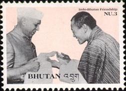 INDO BHUTAN FREINDSHIP-NEHRU WITH BHUTAN KING-MNH-H1-44 - Bhutan