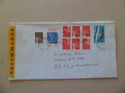 Lettre Recommandée R2 Sans AR Paris Le 7/4/2004  à Montmeyran Le 9/4/2004 Avec  Les N° 3085 X 6; 2421;3444; Et  3621  TB - Lettres & Documents