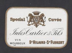 Etiquette De Vin Mousseux  1890/1930 (petite)  -  Spéciale Cuvée  -  Jules Cartier Et Fils St Hilaire St Florent (49) - Labels