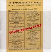 75- PARIS - PROGRAMME THEATRE- MUSIC HALL- CHANSONNIER-CIRQUE- 20 AU 26 OCTOBRE 1954-COGNAC COURVOISIER NAPOLEON - Programmi