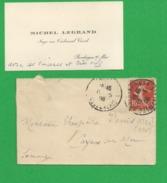 FRANCE 1908 Avec 138 Obl Boulogne Sur Mer Carte De Visite LEGRAND Juge Tribunal Civil - Storia Postale