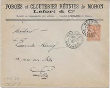 Env. Forges Et Clouteries Réunies De Mohon - Perf. FCR 30 Sur 117 - Perfins