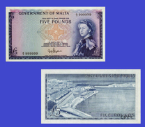 Malta 5 Pounds 1949 Elizabeth II - Copy - Copy- Replica - REPRODUCTIONS - Malte
