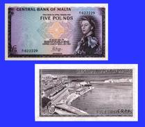 Malta 5 Pounds  1967 Queen Elizabeth II - Copy - Copy- Replica - REPRODUCTIONS - Malte