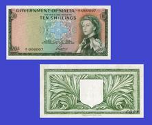 Malta 10 Shillings  1949 Queen Elizabeth II - Copy - Copy- Replica - REPRODUCTIONS - Malte