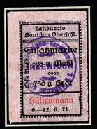 A4600) Oberschlesien Beuthen Zusatzmarke Mehl Oder Brot 1921 - Historische Dokumente