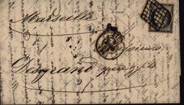YT 3 Seul Sur Lettre 1ère émission Cérès Ceres Lyon Rhône 68 Noir Sur Jaune  1850 Oblitération Grille - Marcophilie (Lettres)
