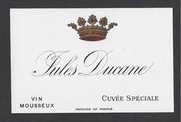 Etiquette De Vin Mousseux 1890/1930  -  Cuvée Spéciale  -  Jules Ducane   Région Saumur  (49) - Labels