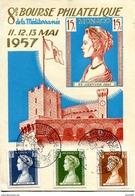 """Vr 292 Carte Bourse Philatélique Avec 5 Timbres """"princesse"""" 11.5.57 - Lettres & Documents"""