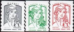 France Autoadhésif N° 1214 - 1214 A - 1215 A ** Marianne De Ciappa. Ecopli Vert, Sans Les Poids (Verso Blanc-Pro) - France