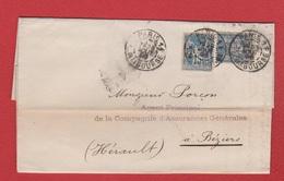 Plis /  De Paris / Pour Béziers / 23 Août 1896 - Marcophilie (Lettres)