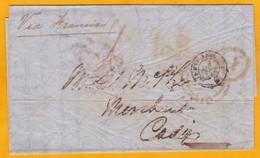 1853 - Lettre Sans Correspondance De Londres, GB Vers Cadiz, Espagne Via France - Cad Arrivée - Postmark Collection