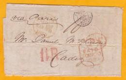 1850 - Lettre Sans Correspondance De Leith, Ecosse, GB Vers Cadiz, Espagne Via Paris, France - Cad Arrivée - Postmark Collection