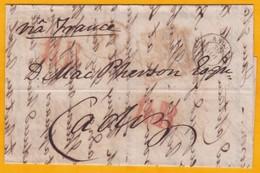 1849 - Lettre Avec Correspondance De Londres, GB Vers Cadiz, Espagne Via France - Cad Entrée En France Et D' Arrivée - Postmark Collection